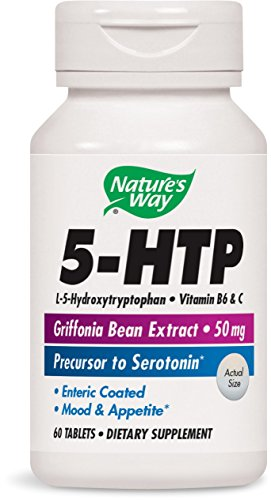 Nature's Way 5-HTP, L-5-Hydroxytryptophan, Vitamin B6 & C, Griffonia Bean Extract 50 mg, 60 Tablets, 60 Count