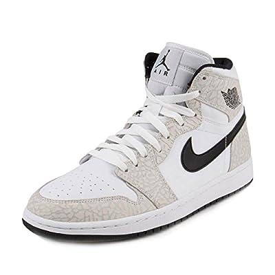 Nike Jordan Mens Air Jordan 1 Retro High White/Black Pure Platinum Basketball Shoe 8.5 Men US