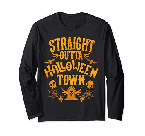 Vintage Straight Outta Halloween Town Shirt Skeleton Grave