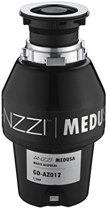 ANZZI Medusa 1 2 HP Sink Garbage Disposal for Kitchen 2600 RPM Stainless SteelFood Disposal Grinder in Black Horse Power Motor Quiet Food Waste Disposers Attached Power Code GD-AZ012