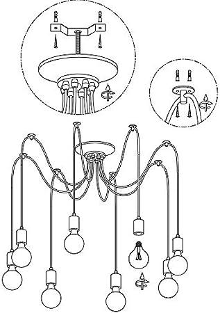 Lustre Suspension 6/Drop T/ête E27/antique classique r/églable DIY araign/ée au plafond lampe suspendue lumi/ère pour salle /à manger couloir Chambre /à coucher H/ôtel d/éclairage