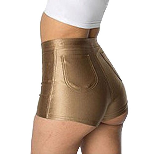 Waisted Pants Hot High (Women Ladies Hot Sexy Mini Shorts Shiny High Waisted Pants, Assorted Colors (L, Golden))