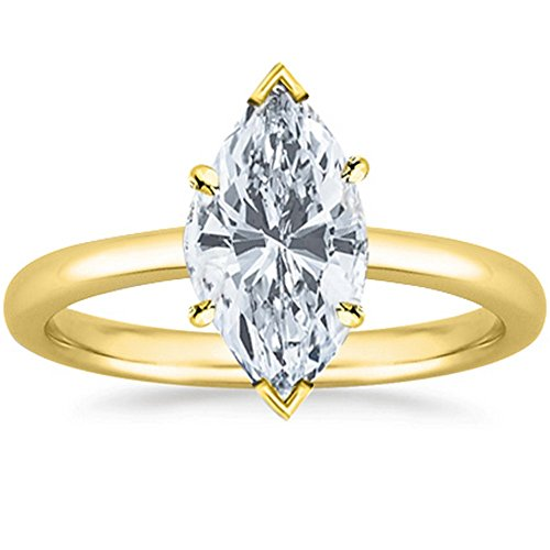 (3/4 Carat GIA Certified 14K Yellow Gold Solitaire Marquise Cut Diamond Engagement Ring (0.75 Ct G-H Color, I1 Clarity))