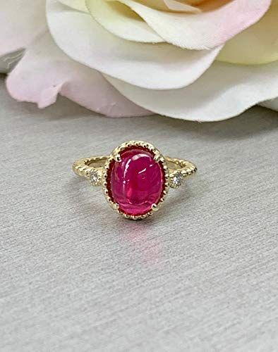 Cabochon Vintage Style Ring/Oval Ruby Ring/Unique Engagement Ring/Ladies Ring / 14k Yellow Gold / #6149 ()