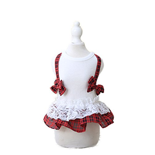 S   Red Isali Bow Tie Plaid Dress Cat Clothing Pet Clothes for Dogs Cats Pet Dress (Size  S, color  Red) Dog Clothes & shoes