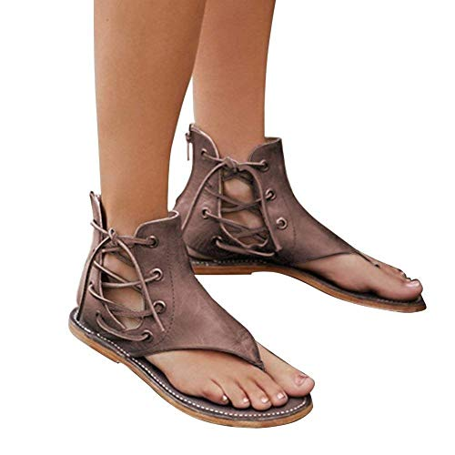 Bouts Lacets Sandales Mode Ouverts Été Tongs Sandales Café Plates Chaussures Plat B Femme Sandales Minetom Femmes tFTq1ww