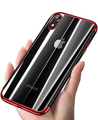 (ANOLE Compatible for iPhone XR Case, Ultra-Thin Crystal Clear Soft TPU Slim Electroplating Transparent Phone Protective Cover & Skin (Red))