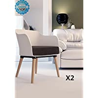 Modern Living Room Armchair - Accent Chair Leisure Chair with Padding and Wood Legs, Set of 2
