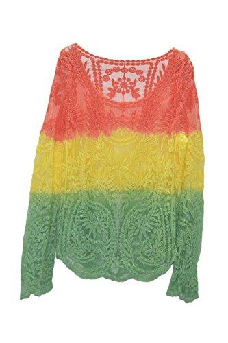 TOOGOO(R)Manga vaporosa media de bordado Chaqueta de ganchillo de encaje floral retro Naranja del gradiente de Amarillo-verde XL