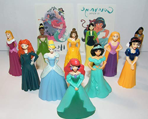Disney Princess Deluxe Party Favors Goody Bag Fillers Set of 11 Nice Sized Figures with Rapunzel, Cinderella, Ariel Etc and Bonus -