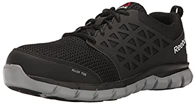 Reebok Mens Black Mesh Work Shoes Alloy Toe Oxfords 4 M