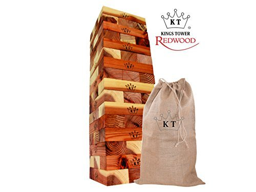 KINGS TOWER - New REDWOOD Edition - Giant Block Stack & Tumble Game - Rustic Storage Bag - Protective Stained & Engraved by GLOconceptsUSA