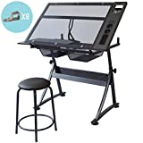 Stationery Island FOULA-TP Drafting Table for Arts and Crafts – Tilting Glass Transparent Drawing Desk with Storage, Stool, and Clips