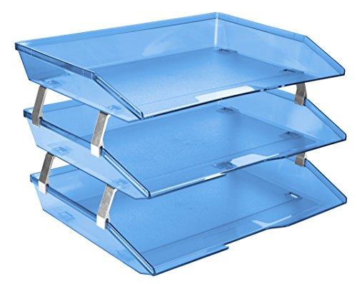 Acrimet Facility 3 Tier Letter Tray Plastic Desktop File Organizer (Clear Blue Color) ()