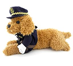 SMALLLEE_LUCKY_STORE Policeman Costume Outfits with Hat Collar Tie Clothes for Small Dog Cat Puppy under 20 pounds M