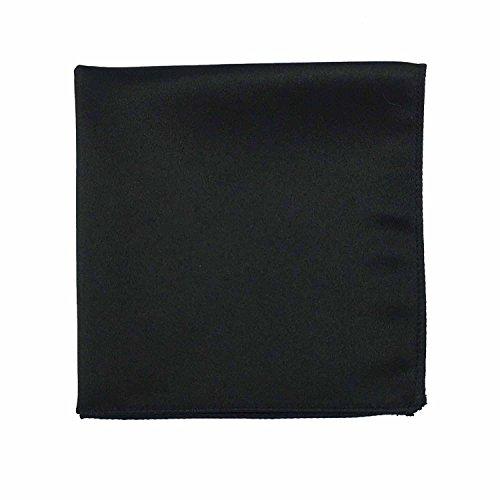 Spencer J's Satin Pocket Squares Handkerchief Boys and Mens (Black)