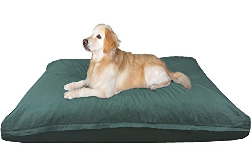 Dogbed4less XXL Extra Large Memory Foam Dog Bed Pillow with Orthopedic Comfort, Waterproof Liner and Durable Pet Bed Canvas Cover 55X37 Inches, Olive -