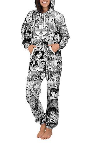 COCOLEGGINGS Unisex Cartoon Characters Onesie Hooded One Piece Jumpsuit Grey S