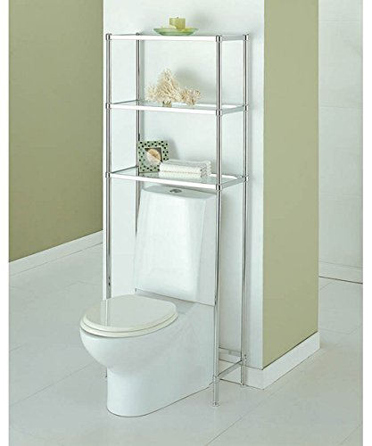 Bathroom Glass Shelf Finish (Over The Toilet 16951W-1 Bathroom Spacesaver with 3 Handy Tempered Glass Shelves in Shiny Chrome Finish 24.25L x 10.75W x 63.5H in.)