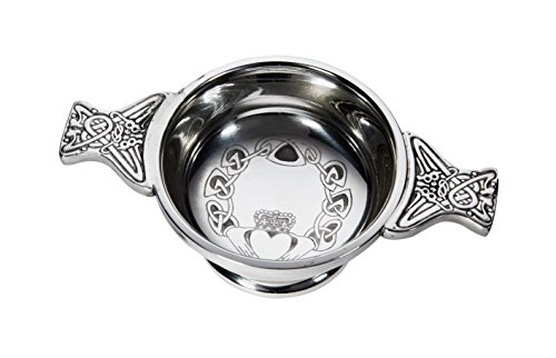 Wentworth Pewter - Small Claddagh Pewter Quaich Whisky Tasting Bowl Loving Cup Burns ()