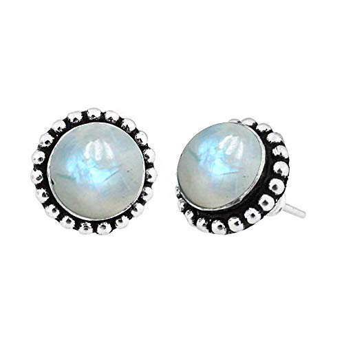 Genuine Round Shape Rainbow Moonstone Stud Earrings 925 Silver Plated Handmade Jewelry For Women Girls