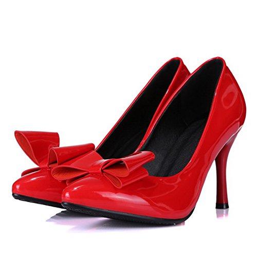 AllhqFashion Damen Lackleder Spitz Zehe Hoher Absatz Ziehen auf Rein Pumps Schuhe Rot