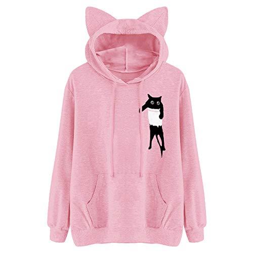 kaifongfu Sales, Womens Long Sleeve Hooded Sweatshirt Jumper Hoodies Pullover Tops Blouse (L, Cat Pink)