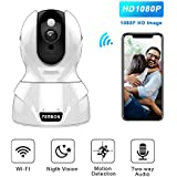 Home WiFi Camera 1080P HD Wireless IP Security Camera with Night Vision, Two-Way Audio, Motion Detection Alert, Remote Monitor for Home, Baby Room