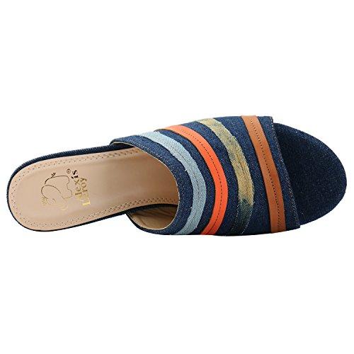 Alexis Leroy Denim Verzierung Mule Sandalen Damen Pantoletten mit Blockabsatz Blau