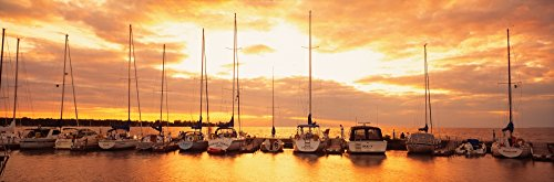 (OKSLO USA Wisconsin Door County Egg Harbor sunset Canvas Art - Panoramic Images (27 x)