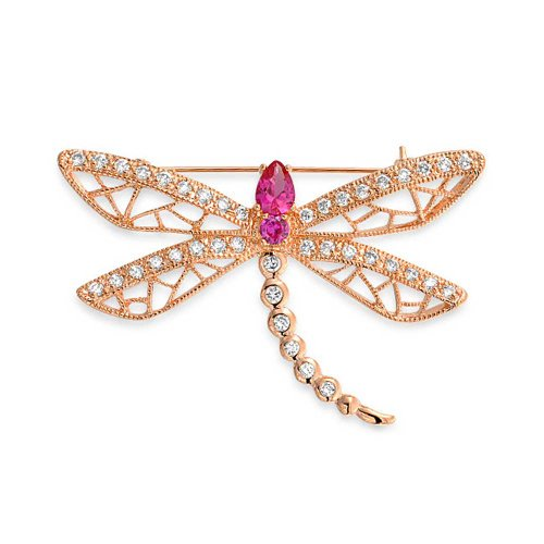 Bling Jewelry Rose Gold Plated Clear Pink Simulated Ruby CZs Dragonfly Pin Brooch