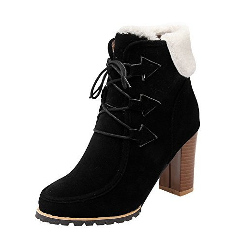 Latasa Womens Fashion Lace up High Heels Cold Weather Ankle Boots Black lSS4A