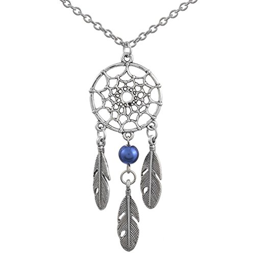 MJartoria Women's Dangling Feather Charms Filigree Tribal Dreamcatcher Pendant Chain Necklace (Blue)