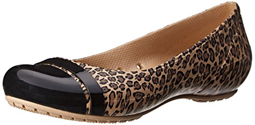 crocs Women's Cap Toe Leopard Ballet Flat, Black/Gold, 7 M US