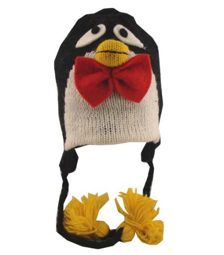 8d5c037b Amazon.com: Penguin Pilot Ski Animal Cap / Hat With Fleece Lined Pom Pom Hand  Knit In Nepal: Clothing