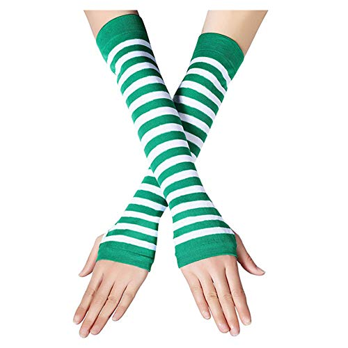 Striped Nylon Gloves (AIKSSOO 2 Pack St. Patrick's Day Green and White Striped Arm Warmers Fingerless Gloves)
