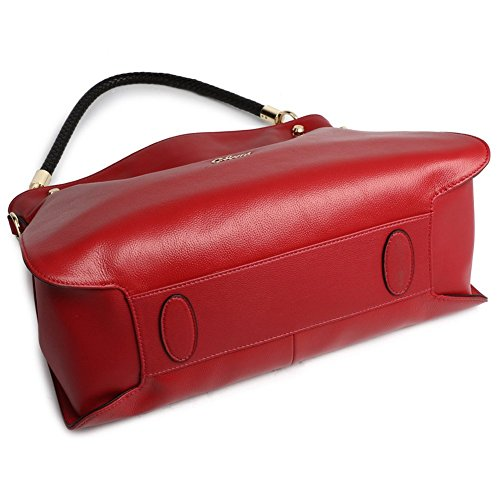Cluci Leather Satchel Handbags Tote red 12 Bag Women Wine Crossbody Shoulder for Purse drqdwYfR