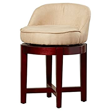 Cool Amazon Com Swivel Vanity Stool With Cherry Wood Finish Made Squirreltailoven Fun Painted Chair Ideas Images Squirreltailovenorg
