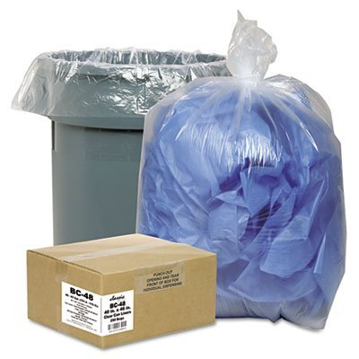 Clear Low-Density Can Liners, 7-10gal, .6mil, 24 x 23, Clear, 500/Carton, Sold as 1 Carton