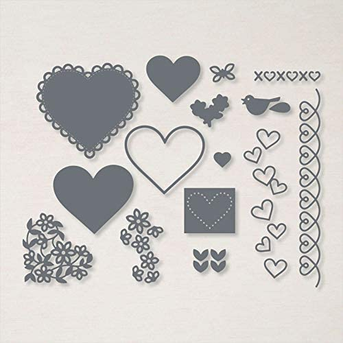 Butterflies Birds Flowers Embossed Lace Love Hearts Dies and Stamp Sets for Card Making DIY Scapbooking Paper Crafting Stencil Die Cuts Template Youre All Hearts Phrase Die Cuts Match Stamps Crafts