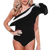 Gobought Women's Stripe One Shoulder Ruffle Bikini...