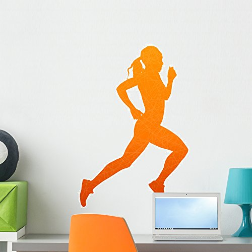 (Wallmonkeys FOT-78218791-24 WM227061 Running Woman Abstract Isolated Vector Silhouette Peel and Stick Wall Decals (24 in H x 23 in W), Medium)