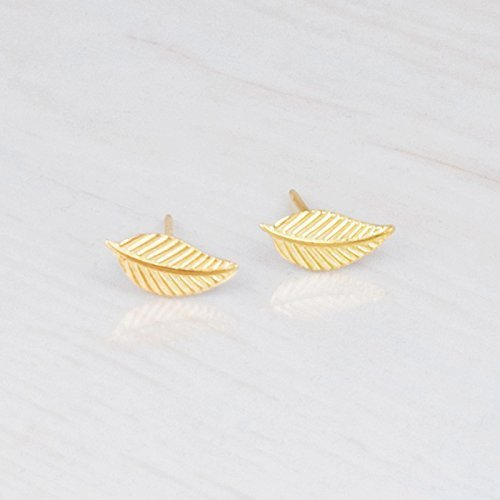 Tiny Gold Leaf Stud Earrings – Designer Handmade Small Feather Post Earrings