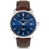Vincero Luxury Men's Kairos Wrist Watch — Blue dial with Brown Leather Watch Band — 42mm Analog...