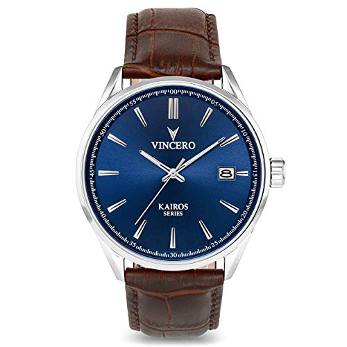 Vincero Luxury Men's Kairos Wrist Watch - Blue dial with Brown Leather Watch Band - 42mm Analog Watch - Japanese Quartz Movement