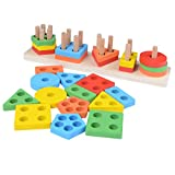 Skiaca Wooden Educational Preschool Toddler Toys Shape Color Recognition Geometric Board Block Stack Sort Chunky Puzzle Kids Children Baby Gift for Age 1 2 3 4 5 Years Old
