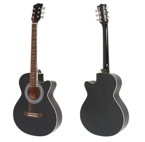 ts-ideen 4513 4/4 Akustik Gitarre Westerngitarre in Schwarz mit Cutaway, weißem ABS Rand und Rosenholz Griffbrett