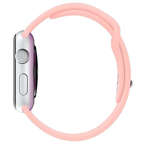 Apple Watch Band – Elias Bands Soft Silicone Sports Style Replacement iWatch Strap Black, for all Apple Watch Models - 38mm (Pink)