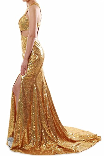 MACloth Women Mermaid High Neck Sequin Long Prom Dress Formal Party Evening Gown Azul Marino Oscuro