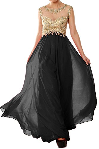 MACloth Women Cap Sleeve Gold Lace Chiffon Long Prom Dress Evening Formal Gown Schwarz Nq7KWkYae